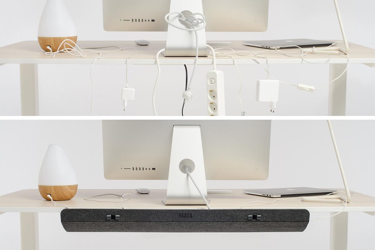 Mit dem Yaasa Cable Management kannst du all deine Kabel verstauen und verstecken.